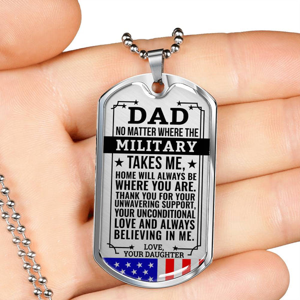 Military Daughter Home Is Where You Are Dog Tag (USA Made)