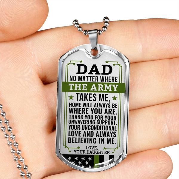 Army Daughter Home Is Where You Are Dog Tag (USA Made)