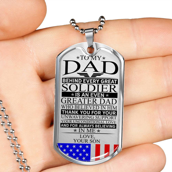 Soldier's Dad Unconditional Love Dog Tag (USA Made)