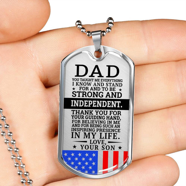 Military Son To Dad - Inspiring Presence Dog Tag Necklace (USA Made)