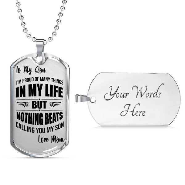 Proud Mom - To My Son - Dog Tag Necklace - Premium