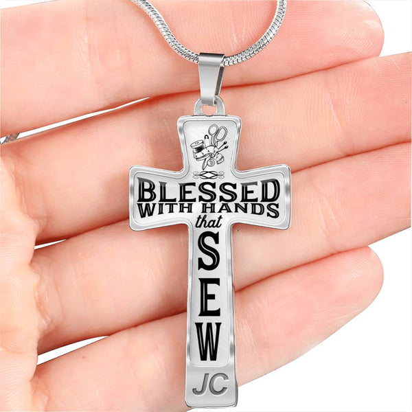 Blessed With Hands That Sew Cross Necklace
