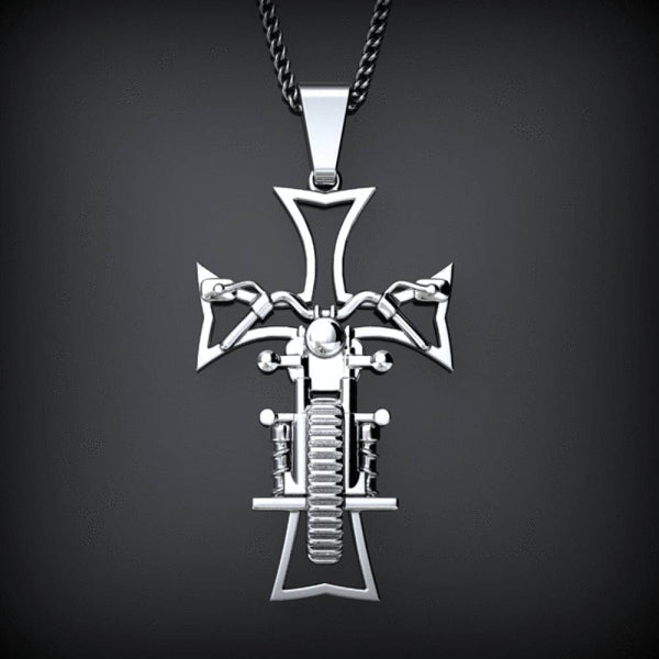 Biker Cross - Stainless Steel (Made In The USA)