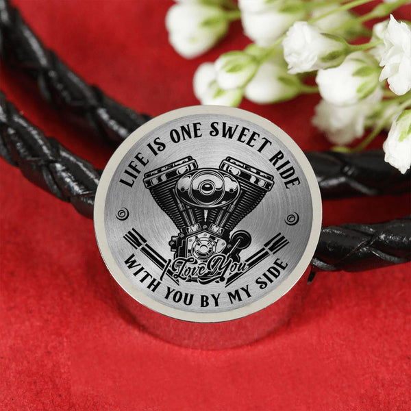 Life is One Sweet Ride Biker Love Leather Charm Bracelet (USA Made)