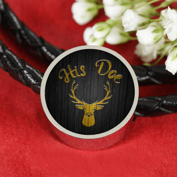 His Doe Circle Charm Leather Bracelet