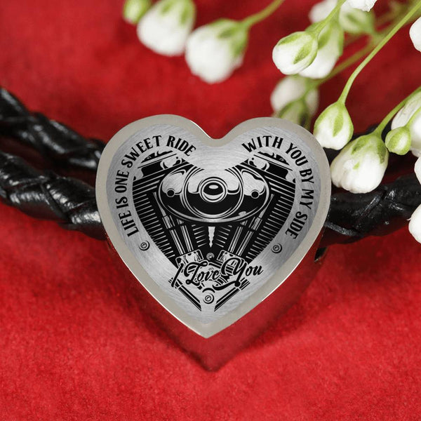 Life is One Sweet Ride Biker Love Heart Leather Charm Bracelet (USA Made)