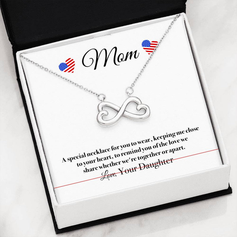 Love We Share Military Daughter Mom Infinity Heart Necklace (USA Stock)