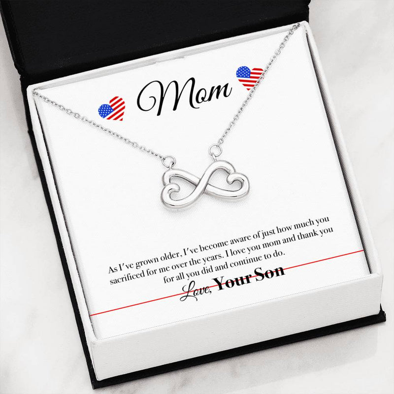 Military Mom Infinity Heart Necklace (USA Stock)