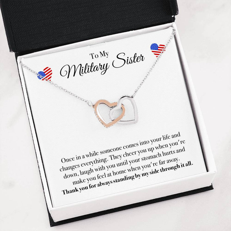 Military Sisters Interlocking Hearts Necklace