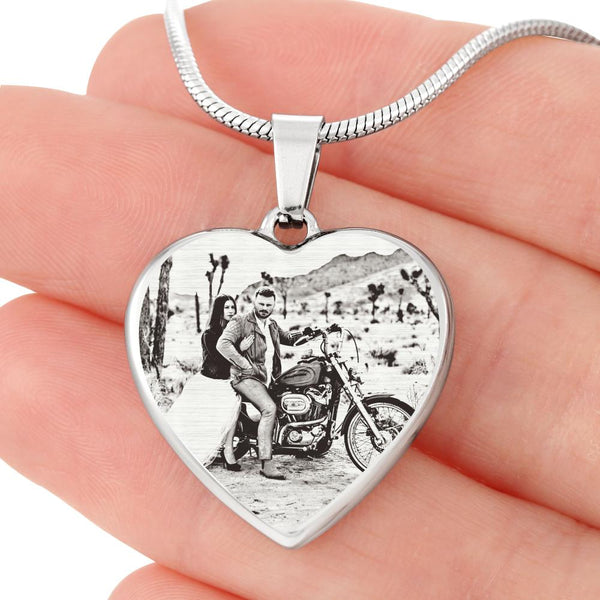 Laser Etched Biker Photo Upload Heart Pendant