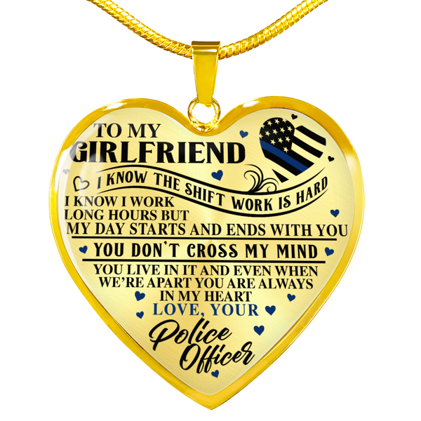 To My Girlfriend Police Heart Necklace (USA Made)