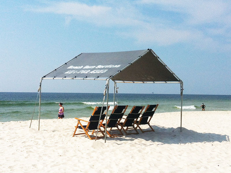 10' x 10' Beach Canopy and 4 Lounge Chairs