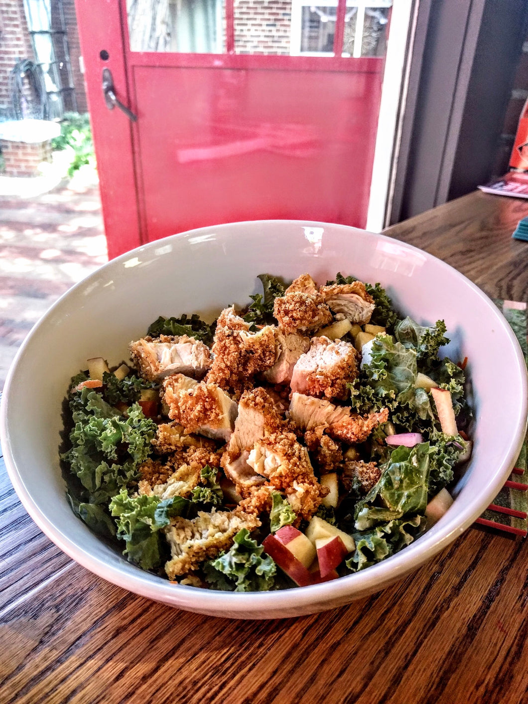 Gluten Free Kale Salad with Gluten Free Chicken Tenders