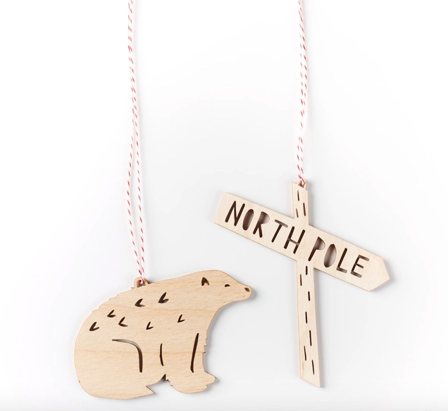 Wooden Bear + North Pole Ornaments