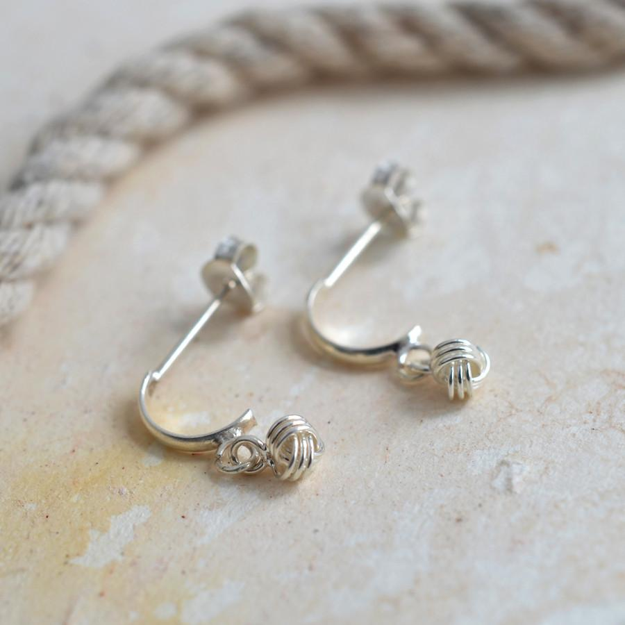 Silver Knot Half Hoops