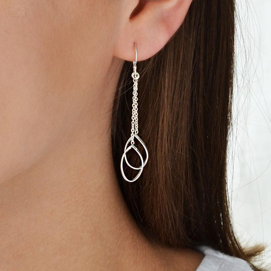 Silver Double Teardrop Earrings