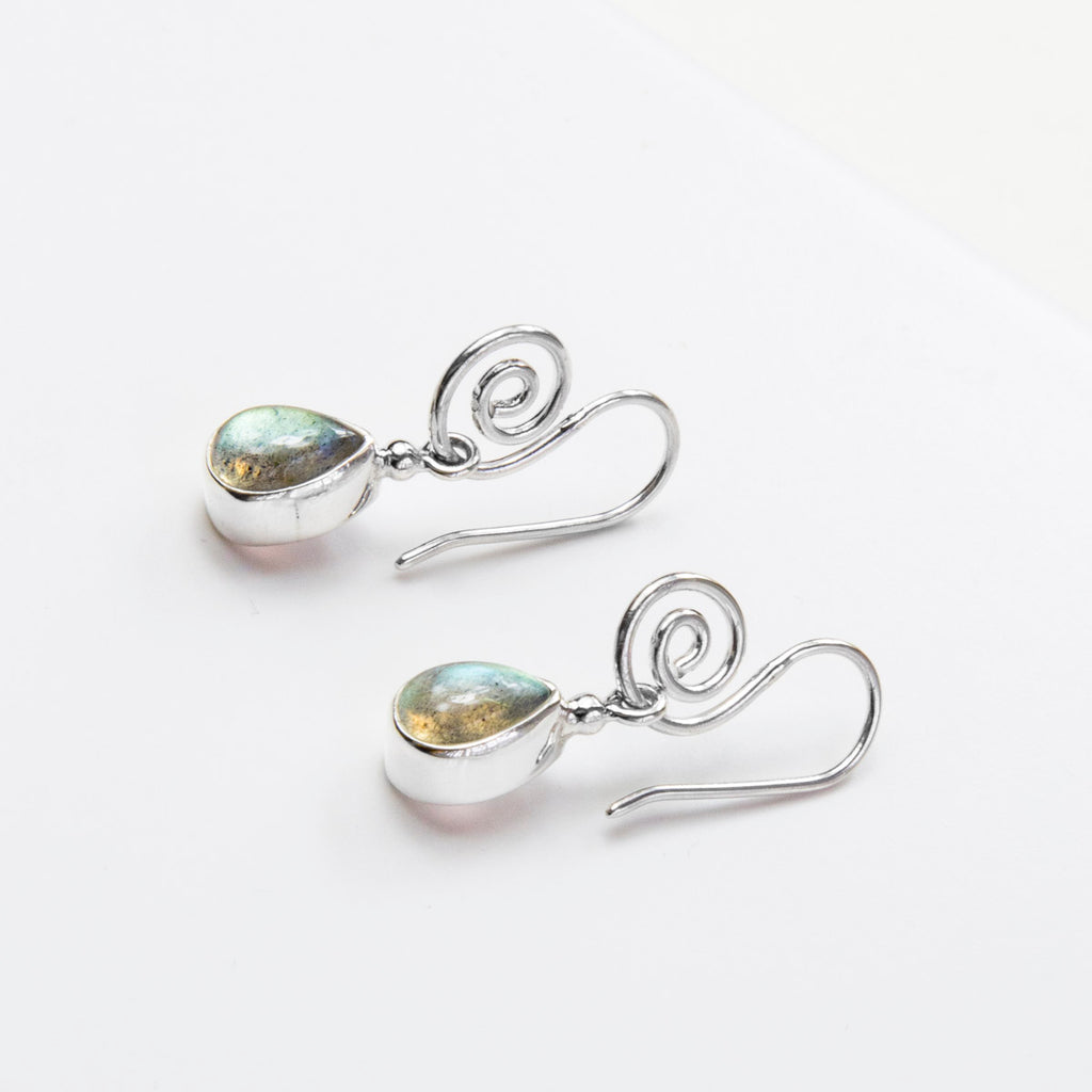 Labradorite Side Swirl Earrings