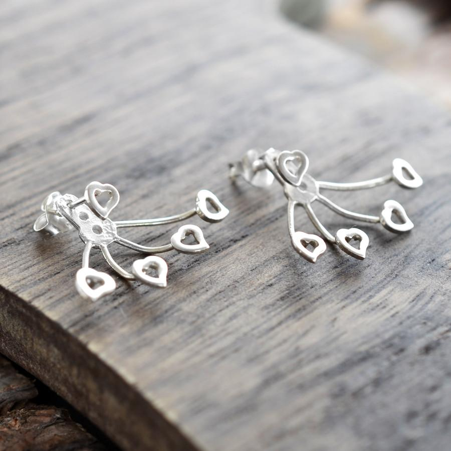 Silver Heart Two Way Earrings