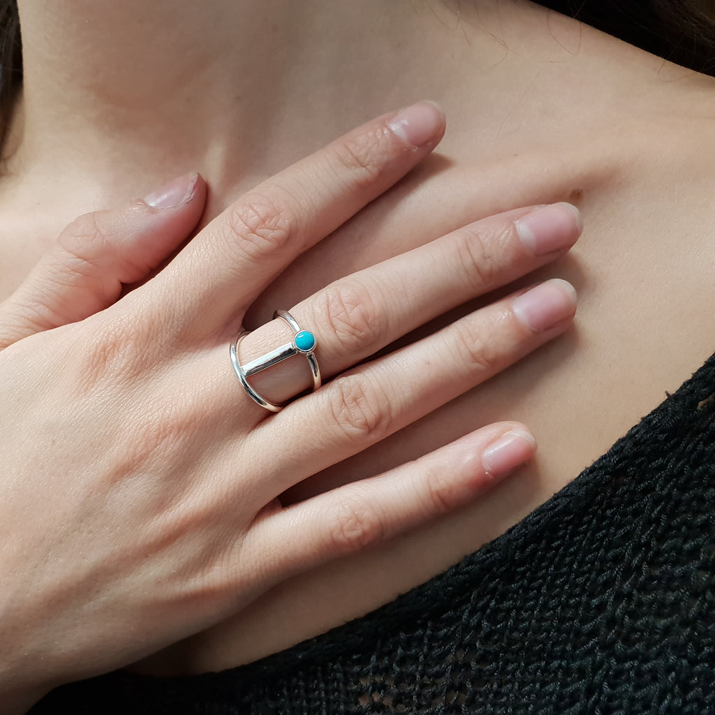 Turquoise Silver Bar Ring