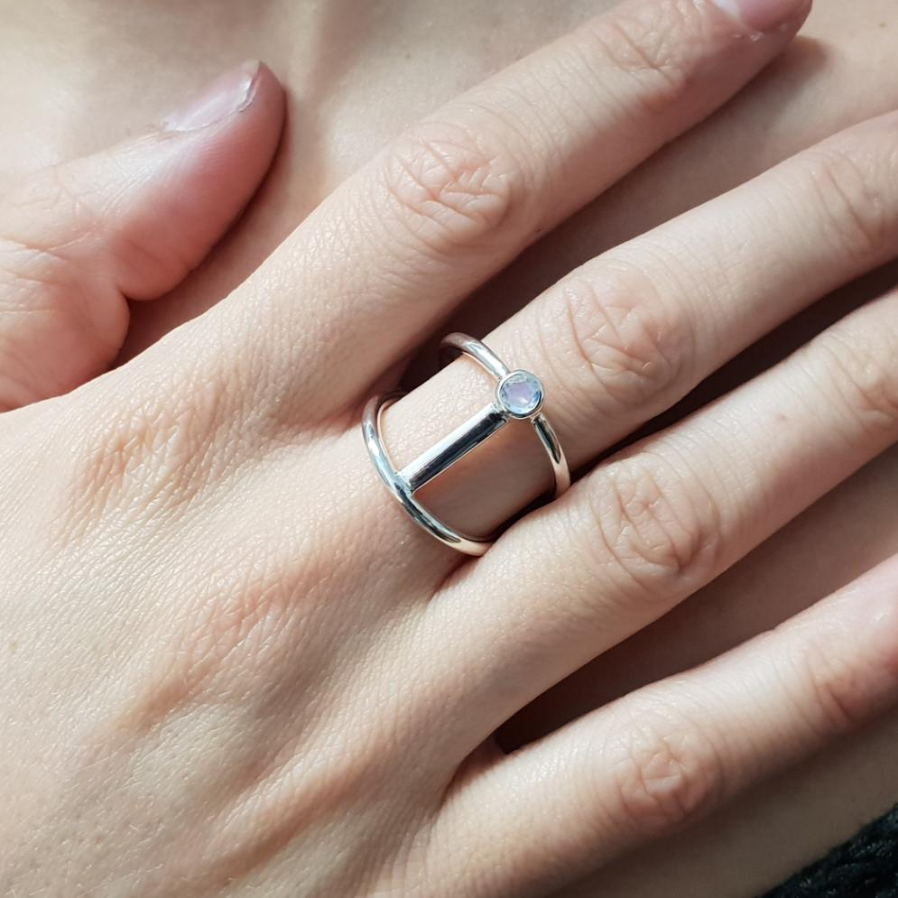 Moonstone Silver Bar Ring