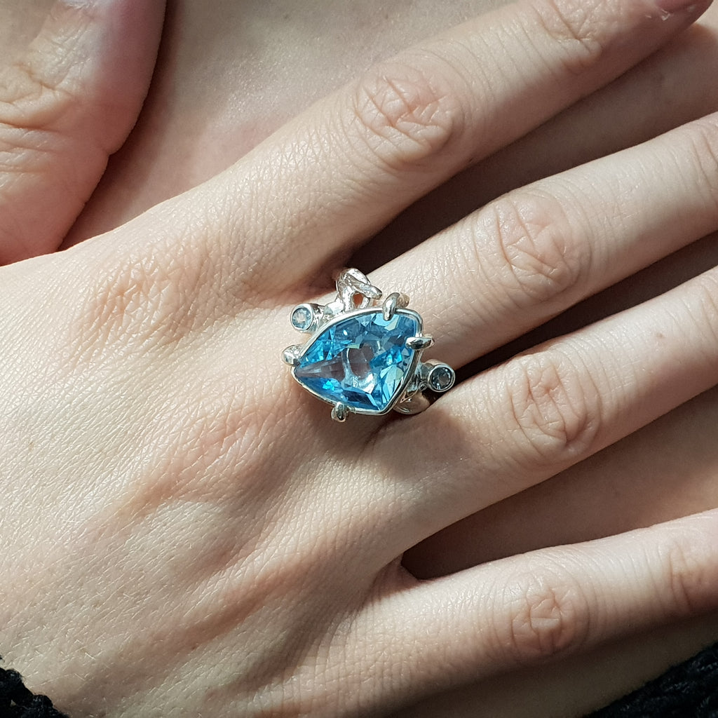 One-off Blue Topaz Twig Ring - Size P1/2