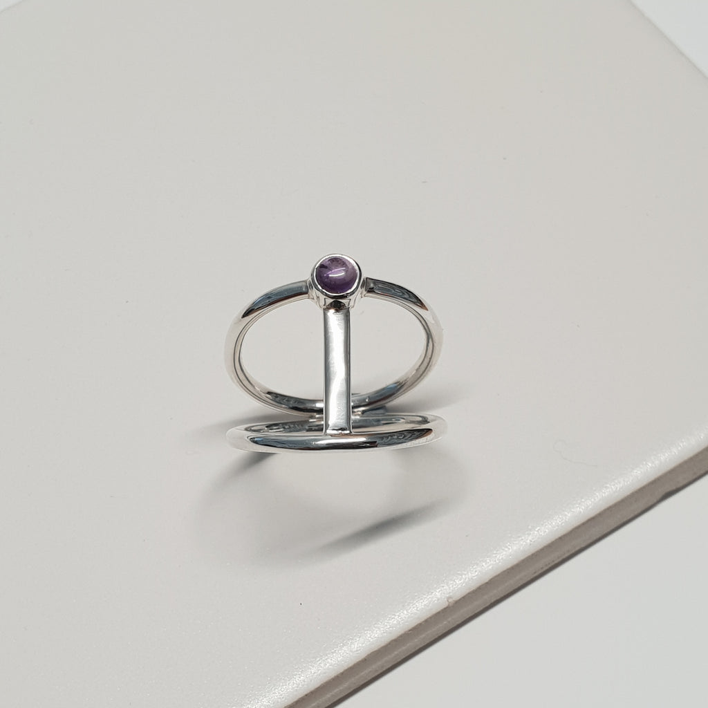 Amethyst Silver Bar Ring