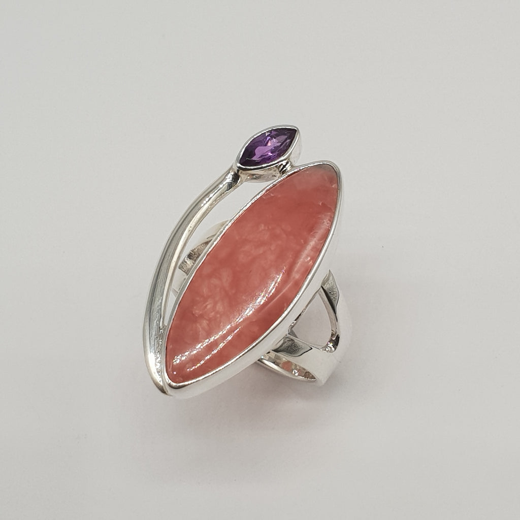 One-off Rhodochrosite and Amethyst Marquise Ring