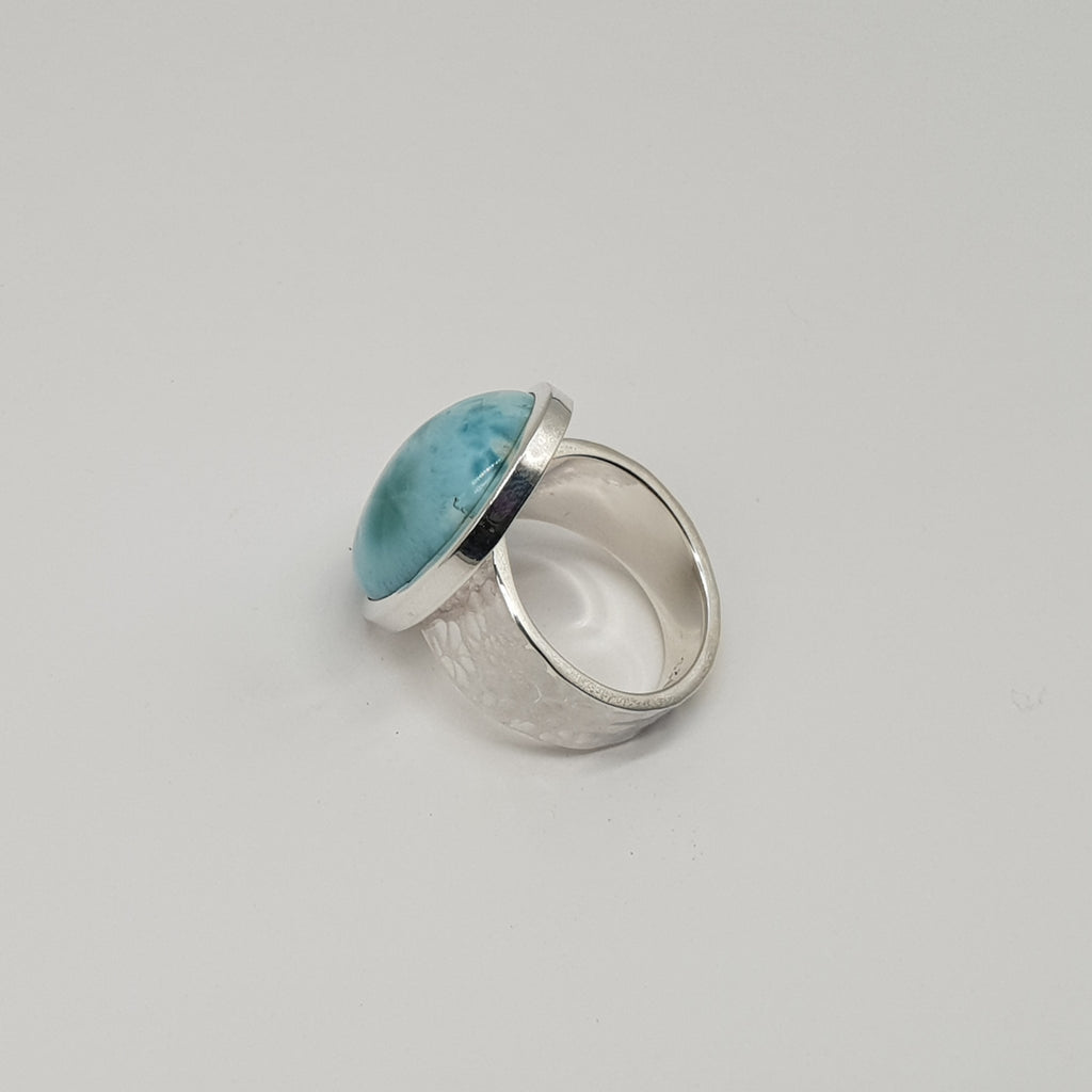 Larimar Hammered Band Ring