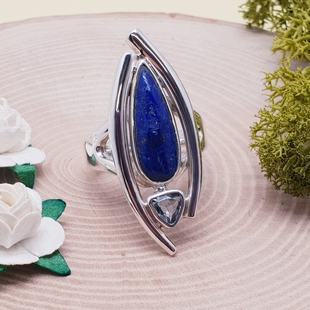 Lapis Lazuli and Blue Topaz Petal Ring