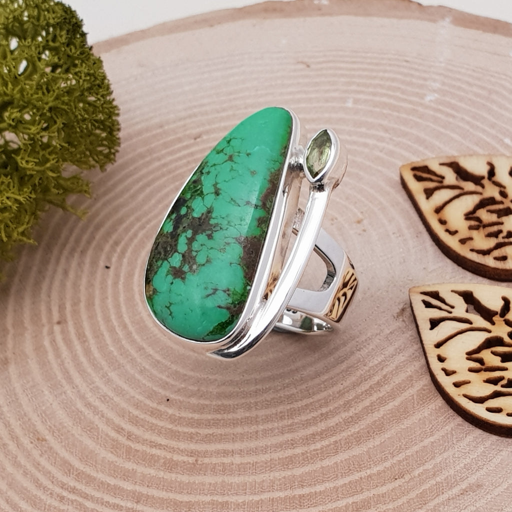 One-off Turquoise and Peridot Free Form Ring