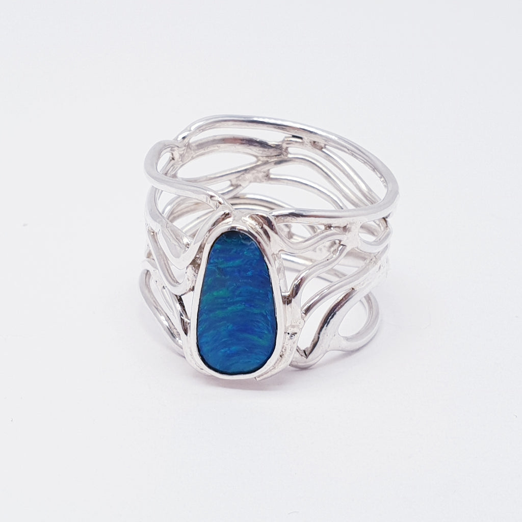 Opal Swirl Band Ring