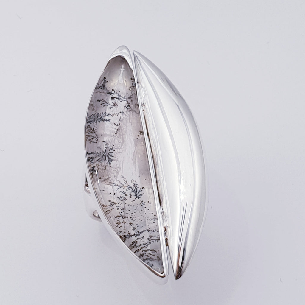 One-off Dendritic Quartz Silver Shard Ring - Size R1/2