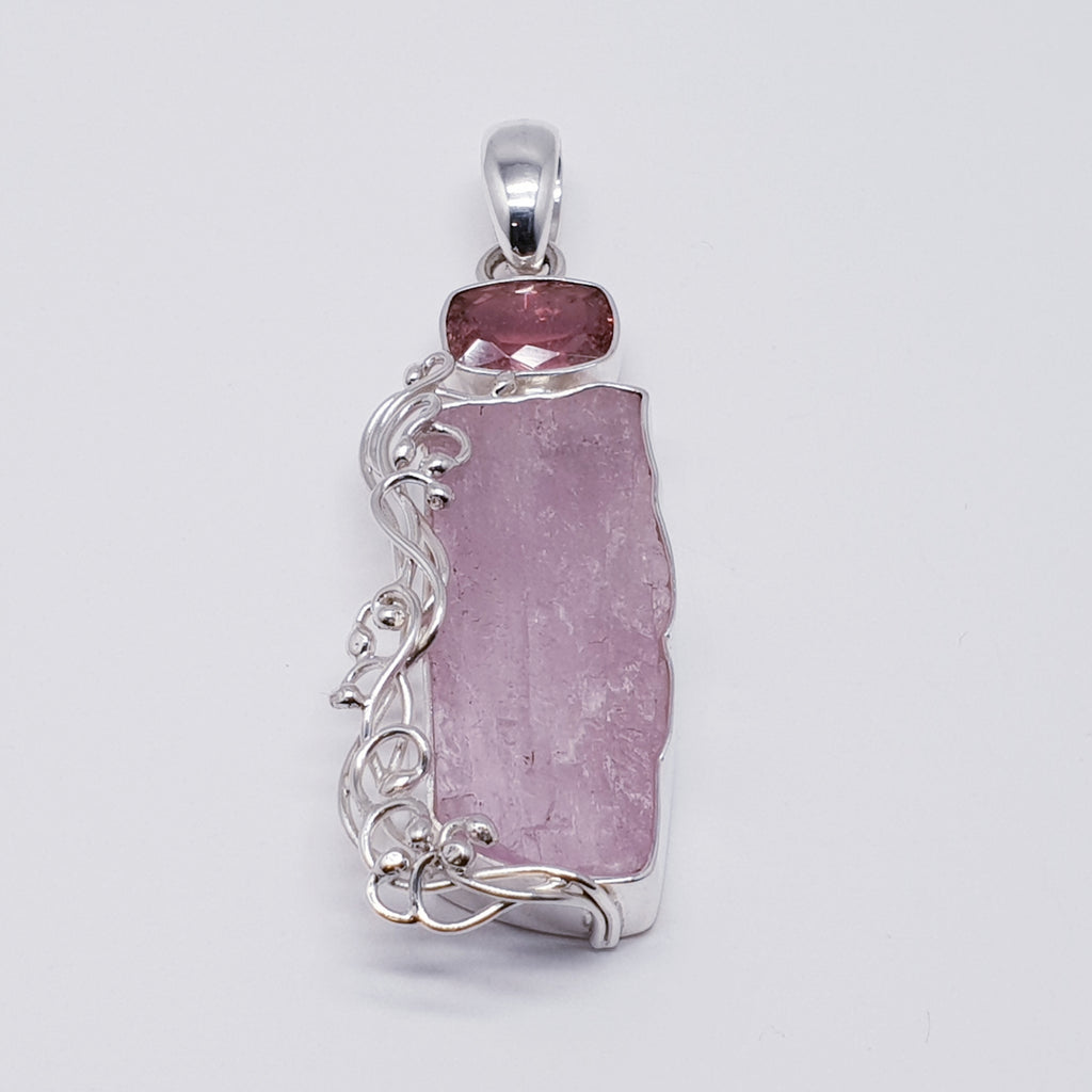 One-off Raw Kunzite and Tourmaline Ostara Pendant
