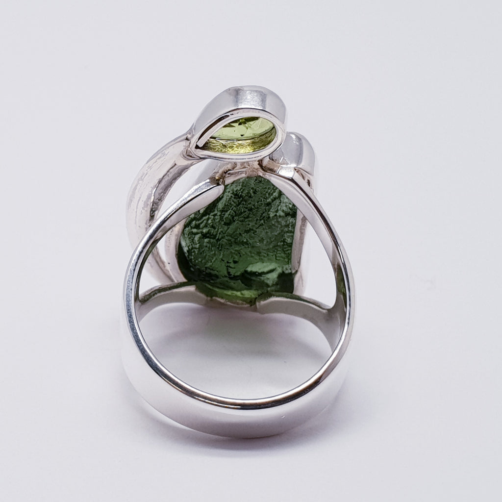 One-off Moldavite and Peridot Ring
