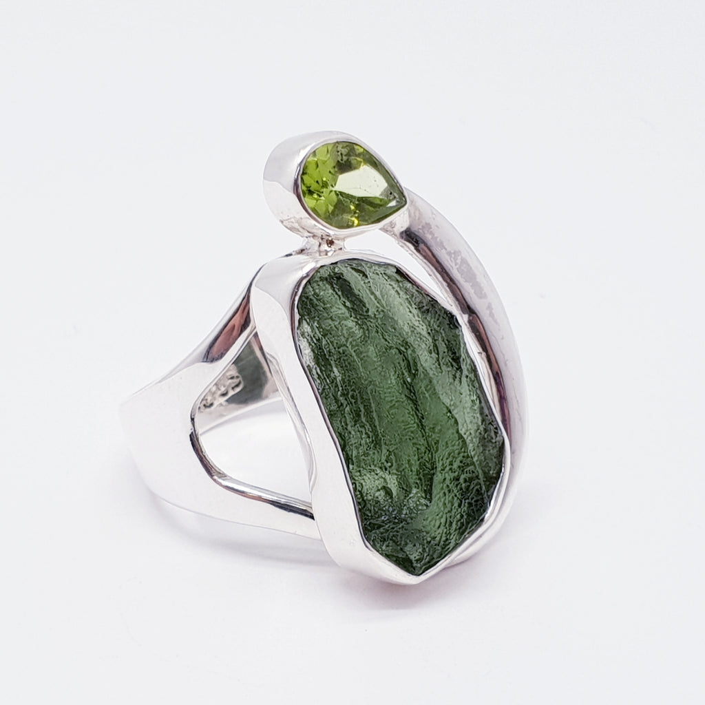 One-off Moldavite and Peridot Ring - Size P