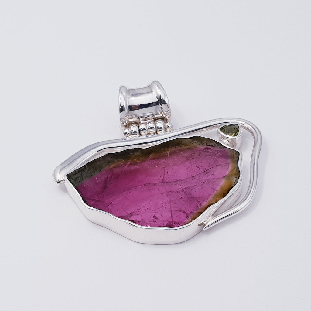 One-off Watermelon Tourmaline Rainbow Pendant