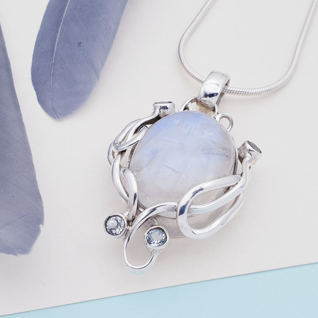 One-off Moonstone and Aquamarine Artemis Pendant