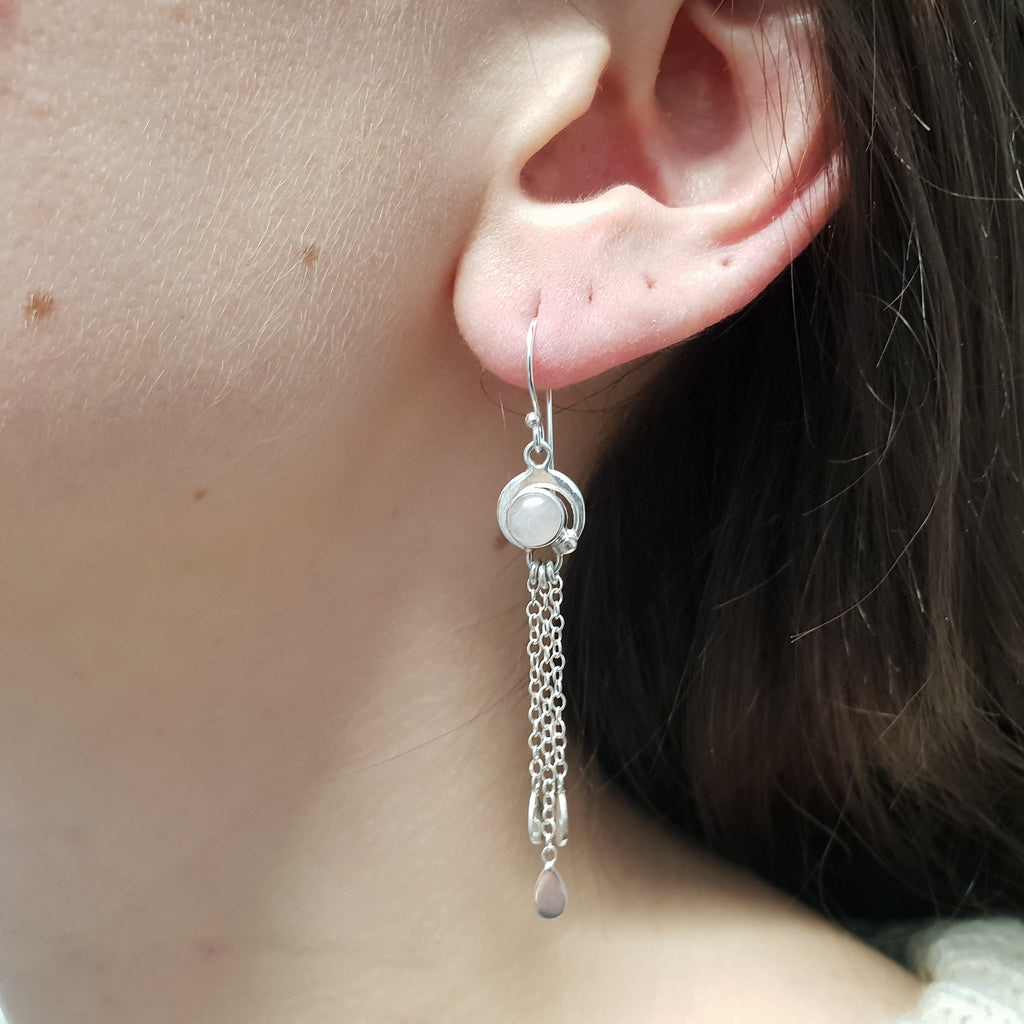 Rose Quartz Waterfall Earrings