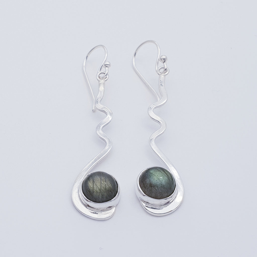 Labradorite Crinkle Earrings