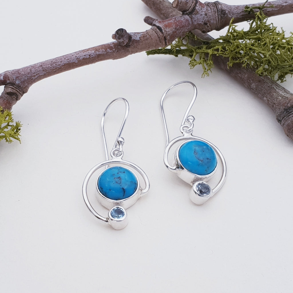 Turquoise and Aquamarine Spiral Earrings