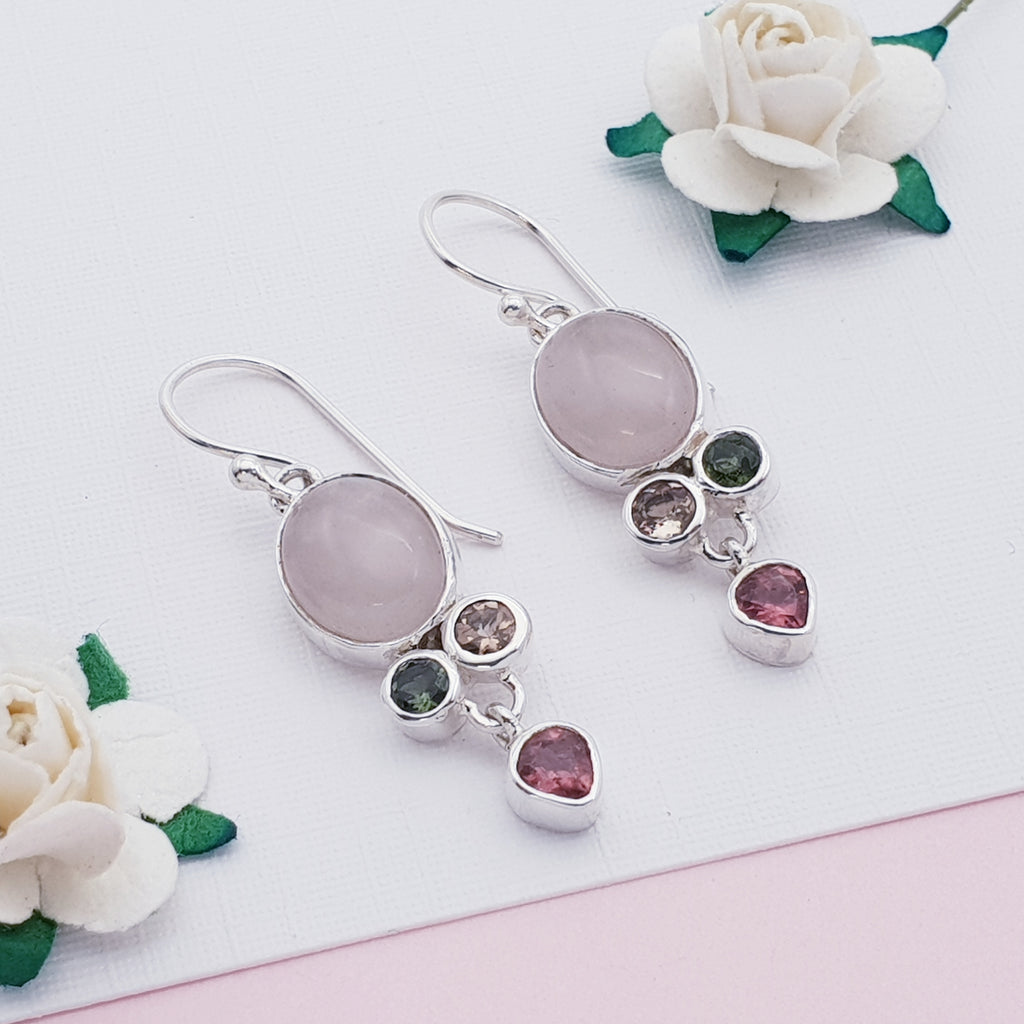 Rose Quartz and Tourmaline Aiko Earrings