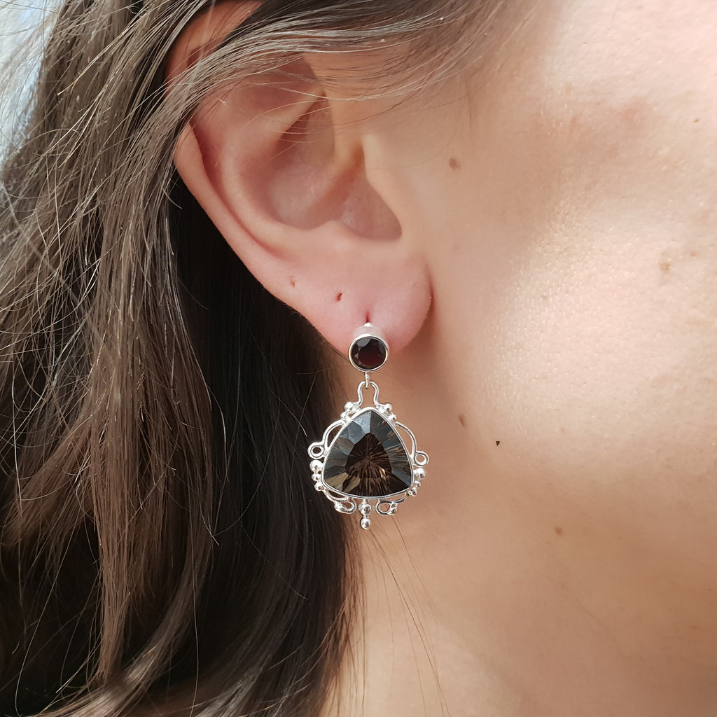 Smoky Quartz Edwardian Earrings
