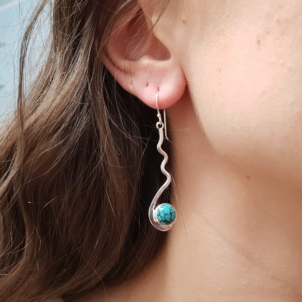 Turquoise Crinkle Earrings