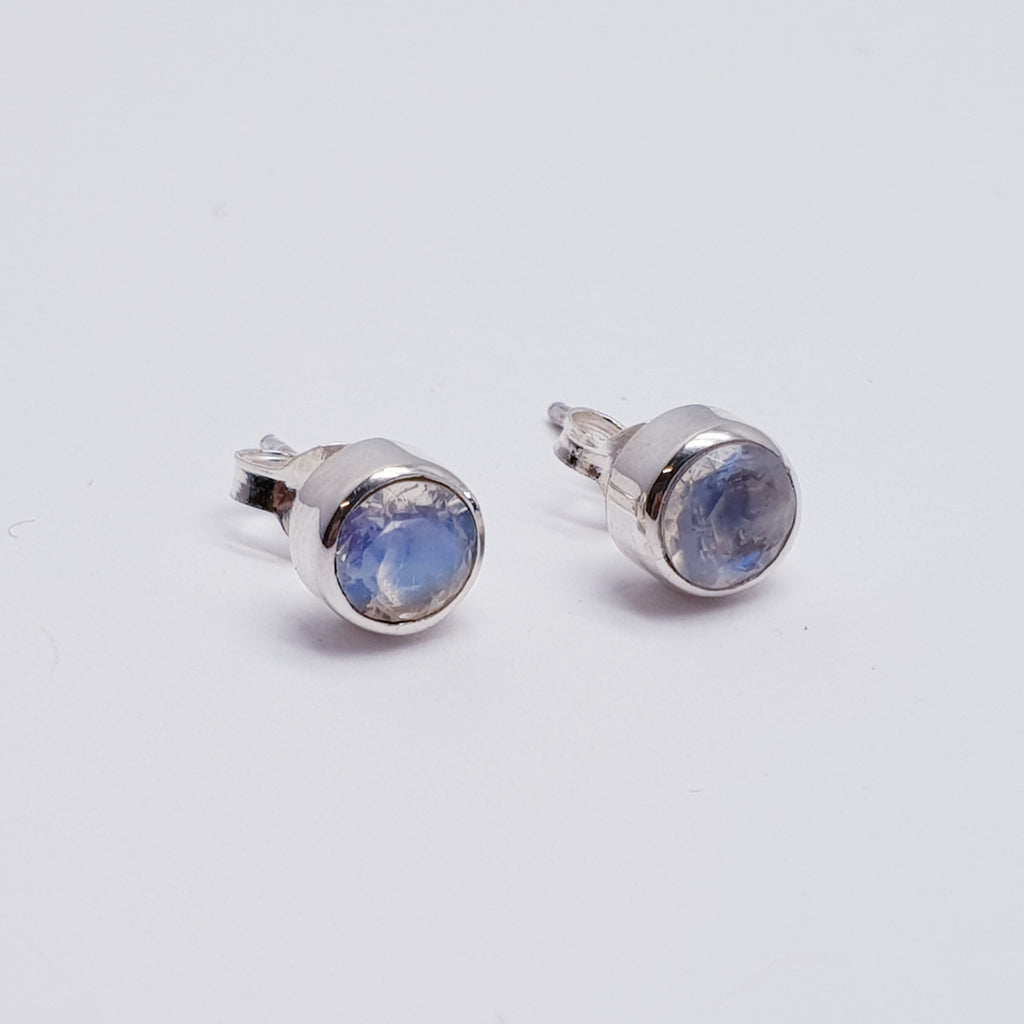 Moonstone Faceted Studs