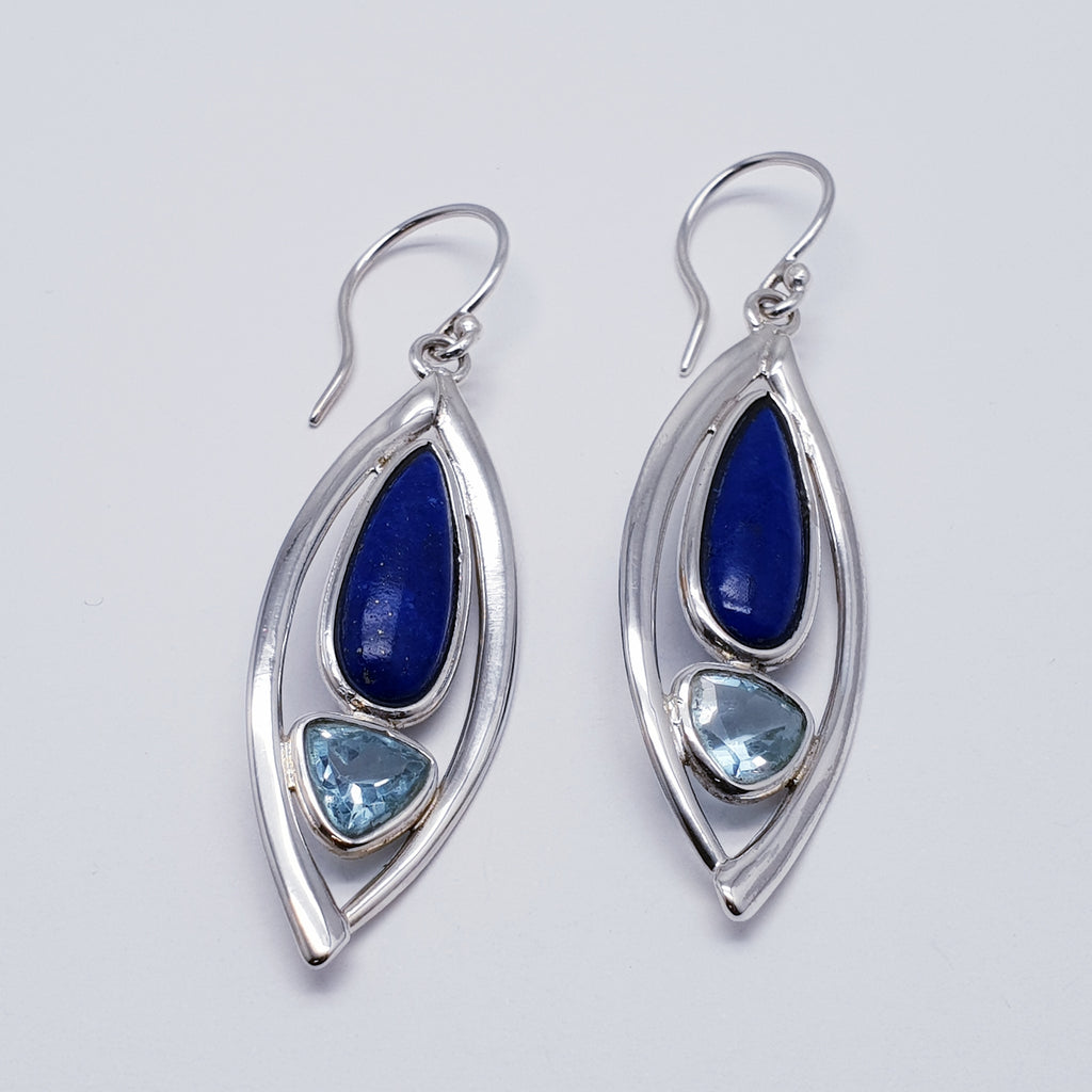 Lapis Lazuli and Blue Topaz Large Petal Earrings