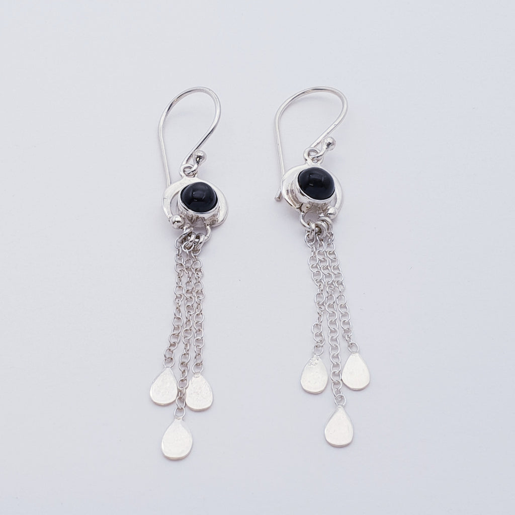 Star Diopside Waterfall Earrings