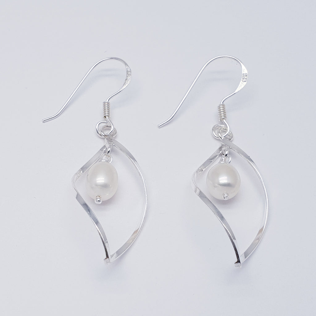 Pearl Large Silver Twist Earrings