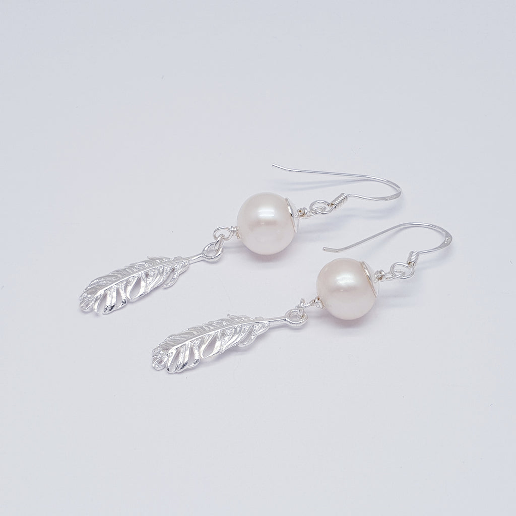 Pearl Large Feather Earrings