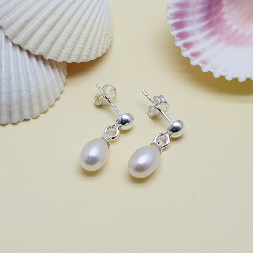 Pearl Small Simple Stud Drop Earrings