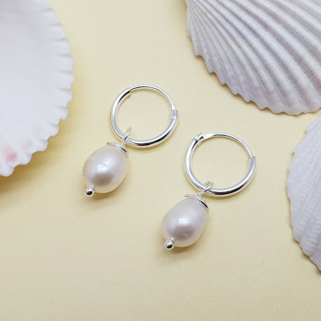 Pearl Dainty Hoop Earrings